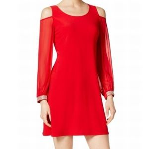 NWT Red Cold Shoulder Rhinestone Cocktail Dress